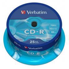 OfiElche-SOPORTES MAGNETICOS Y MEMORIAS-TARRINA 25 CD''S -R VERBATIM 700MB