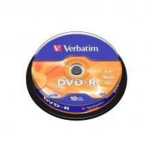 OfiElche-SOPORTES MAGNETICOS Y MEMORIAS-TARRINA 10 DVD''S -R VERBATIM 4,7GB