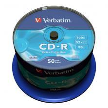 OfiElche-SOPORTES MAGNETICOS Y MEMORIAS-TARRINA 50 CD''S -R VERBATIM 700 MB