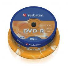 OfiElche-SOPORTES MAGNETICOS Y MEMORIAS-TARRINA 25 DVD''S -R VERBATIM 4,7GB
