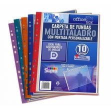 OfiElche-CARPETAS DE FUNDAS Y TARJETEROS-CARPETA 10 FUNDAS MULTITALADRO A4 SURT. SUPRA