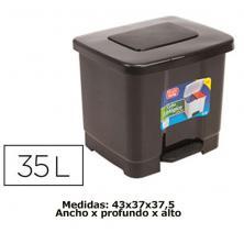 OfiElche-CUBOS Y BOLSAS-CUBO C/PEDAL 35 LITROS GRIS CON TAPA