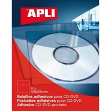 OfiElche-SOPORTES MAGNETICOS Y MEMORIAS-PACK 6 FUNDAS ADHESIVAS CD''S APLI