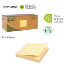 OfiElche-PRODUCTOS DESTACADOS-NOTAS ADHESIVAS APLI 75X75 MM. RECICLADO PACK. 12